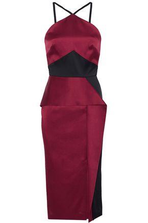 ROLAND MOURET Bartlow two-tone satin-crepe halterneck dress