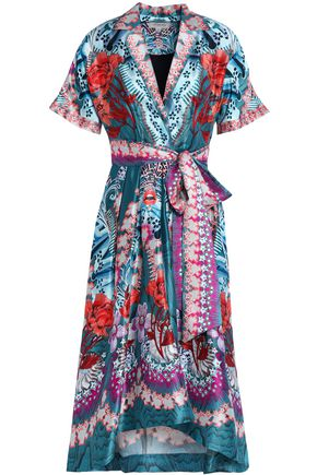 TEMPERLEY LONDON Belted printed silk-blend sateen shirt dress