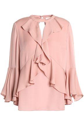 CINQ À SEPT Ruffled silk crepe de chine blouse