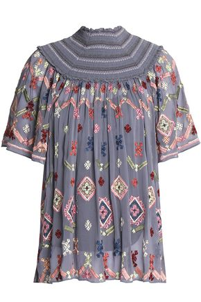 NEEDLE & THREAD Smocked embroidered crepe de chine blouse