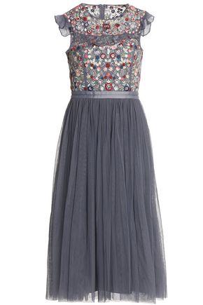 NEEDLE & THREAD Embroidered pleated tulle dress