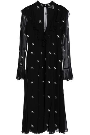 TEMPERLEY LONDON Starling bead-embellished ruffled chiffon dress