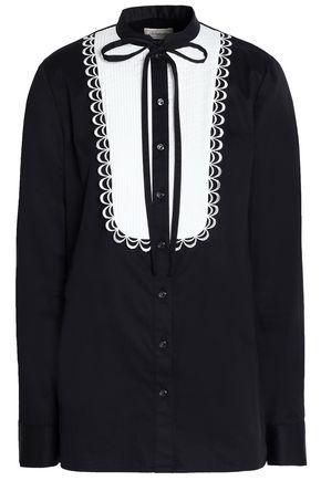 TEMPERLEY LONDON Pussy-bow pintucked cotton-poplin shirt