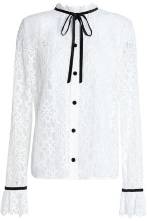 TEMPERLEY LONDON Velvet-trimmed lace top