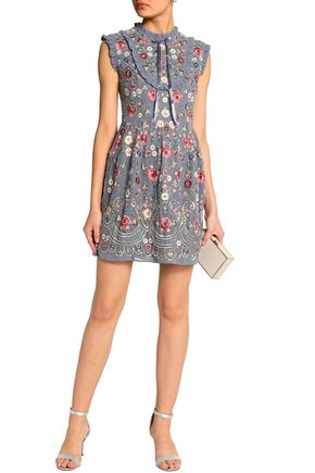 NEEDLE & THREAD Pussy-bow ruffle-trimmed embellished crepe de chine mini dress