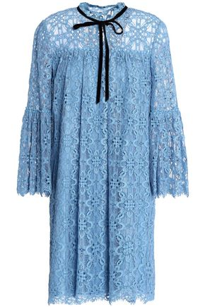 TEMPERLEY LONDON Eclipse pussy-bow corded lace mini dress
