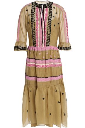 TEMPERLEY LONDON Poppy Field lace-trimmed embroidered cotton and silk-blend organza dress