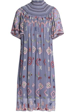 NEEDLE & THREAD Smocked embroidered chiffon dress