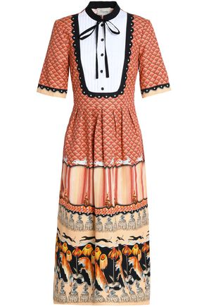 TEMPERLEY LONDON Pussy-bow printed cotton-blend midi dress