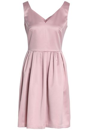 RAOUL Pleated satin-crepe mini dress
