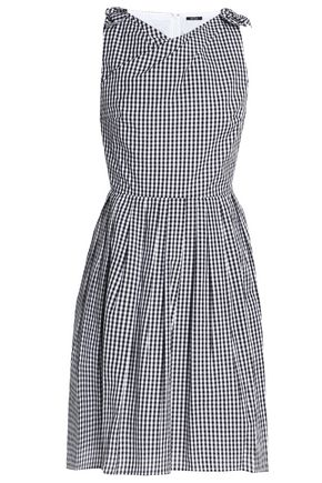 RAOUL Knotted pleated gingham cotton-poplin dress
