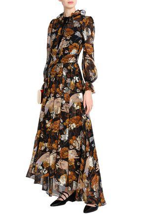 TEMPERLEY LONDON Metallic fil coupé printed silk-blend georgette maxi dress