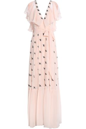 TEMPERLEY LONDON Starling ruffle-trimmed embellished chiffon gown