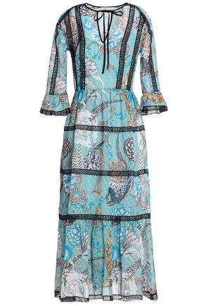 TEMPERLEY LONDON Lace-trimmed floral-print fil coupé midi dress