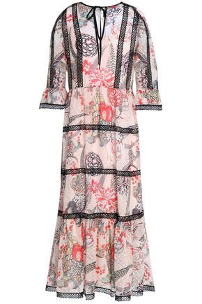 TEMPERLEY LONDON Shire lace-trimmed printed fil coupé voile midi dress