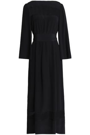 VANESSA SEWARD Lace-trimmed silk-crepe midi dress