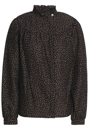 VANESSA SEWARD Gathered polka-dot cotton and silk-blend shirt