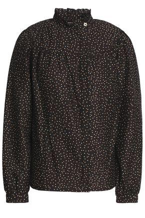 VANESSA SEWARD Gathered polka-dot cotton and silk-blend shirt