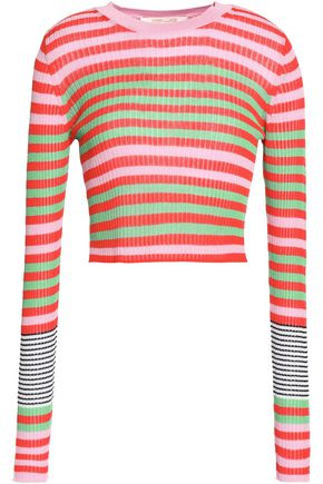 DIANE VON FURSTENBERG Cropped striped ribbed-knit top