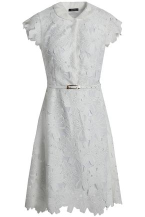 RAOUL Belted cotton-blend guipure lace shirt dress