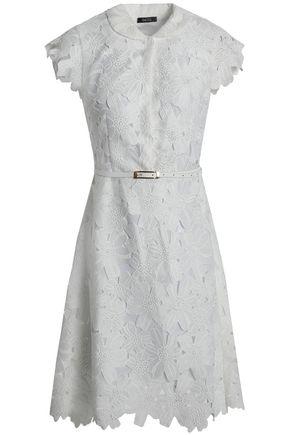 RAOUL Belted cotton-blend guipure lace shirt dress