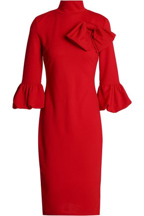 RAOUL Bow-embellished flared cotton-blend crepe dress