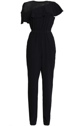 VANESSA SEWARD Chiffon-paneled draped crepe jumpsuit