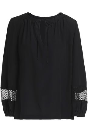 VANESSA SEWARD Lace-trimmed silk blouse