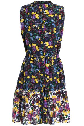 SALONI Ruffled belted floral-print silk crepe de chine mini dress