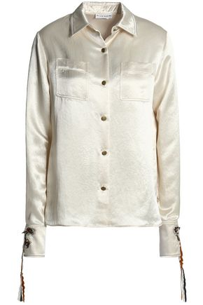 SONIA RYKIEL Floral-appliquéd hammered-satin shirt