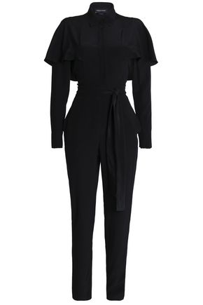 WOMAN CAPE-EFFECT BELTED SILK JUMPSUIT BLACK