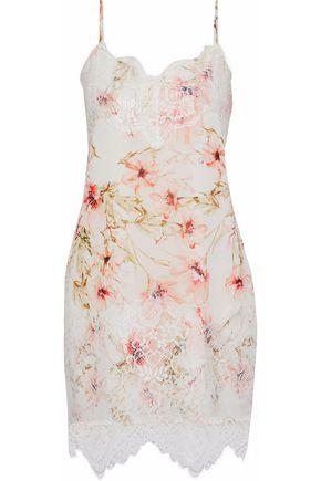 HAUTE HIPPIE Lace-paneled floral-print crepe de chine mini dress