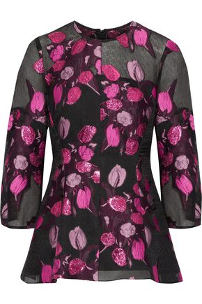 LELA ROSE Metallic embroidered crinkled chiffon top