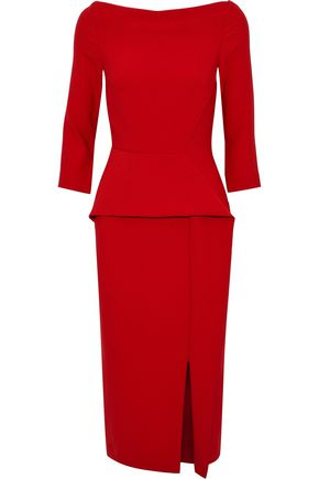 ROLAND MOURET Ardingly off-the-shoulder crepe peplum dress