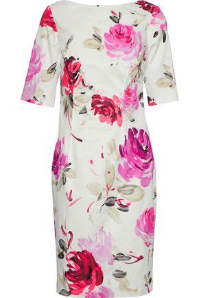 LELA ROSE Floral-print stretch-cotton dress