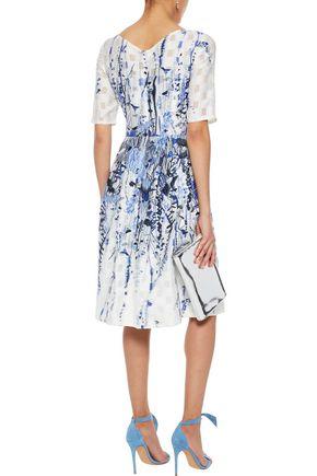 LELA ROSE Cloqué-jacquard dress