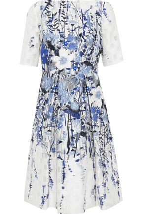 LELA ROSE Cloqué-jacquard dress