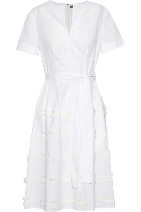 LELA ROSE Embroidered cotton-blend poplin dress