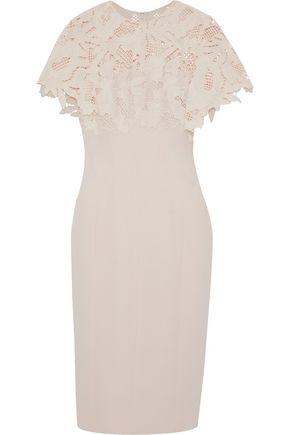 LELA ROSE Guipure lace-paneled wool-blend dress