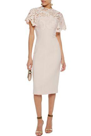 LELA ROSE Guipure lace-paneled wool-blend dress