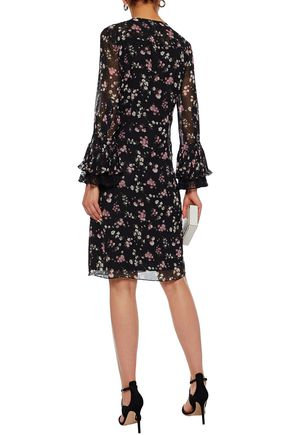 MIKAEL AGHAL Lace-trimmed ruffled floral-print chiffon dress