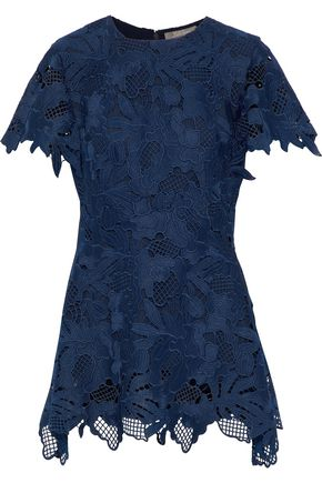 LELA ROSE Wool-blend guipure lace top