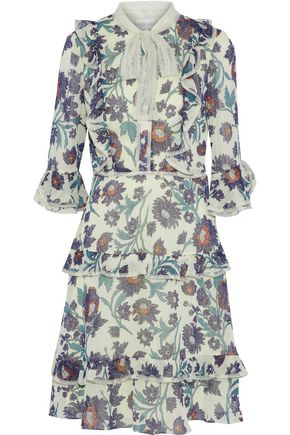 MIKAEL AGHAL Pussy-bow ruffled floral-print chiffon dress