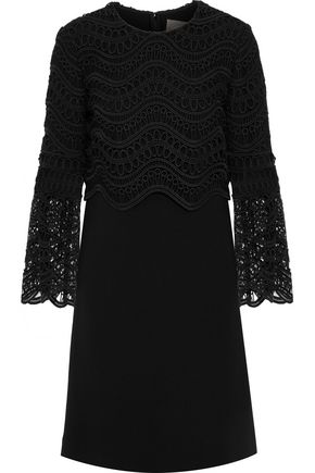 LELA ROSE Guipure lace-paneled wool-blend crepe dress