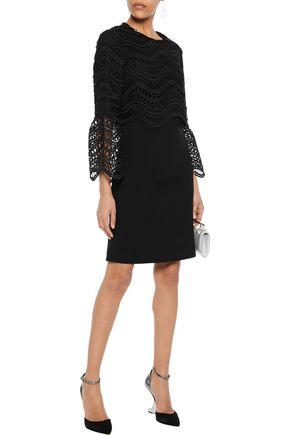LELA ROSE Guipure lace-paneled wool-blend crepe dress