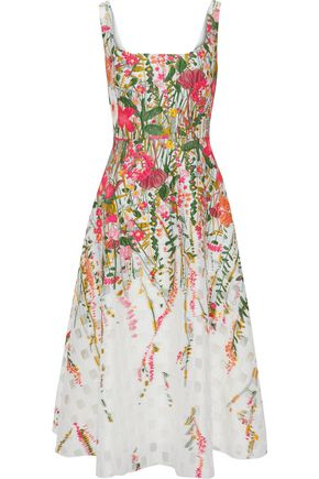 LELA ROSE Flared cloqué-jacquard midi dress