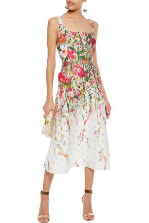 LELA ROSE Flared cloqué-jacquard midi dress