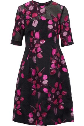 LELA ROSE Holly embroidered crinkled chiffon dress