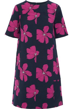 LELA ROSE Cotton-blend floral-jacquard mini dress