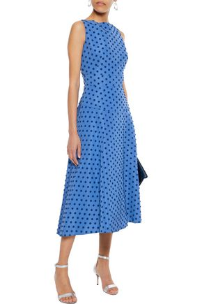 LELA ROSE Flocked silk-faille midi dress